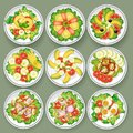 Set of different salads