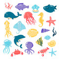 Set of different sea animals in cute cartoon style Royalty Free Stock Photo