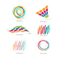 Set with different shapes and colors abstract graphic designs Royalty Free Stock Image