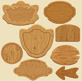 Set of different shapes wooden sign boards. Royalty Free Stock Photo