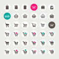 Set different shopping cart basket bag icons Royalty Free Stock Image