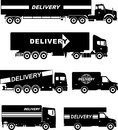 Set of different silhouettes delivery trucks isolated on white background. Vector illustration.