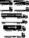 Set of different silhouettes delivery trucks on white background. Vector illustration.