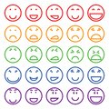 Set of different smiles multicolored vector differernt Royalty Free Stock Images