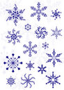 Set of different snowflakes Stock Photo
