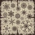 Set of different snowflakes over old page damaged vector eps Stock Images