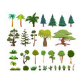 A set of different species of trees and shrubs in a flat style.