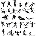 Set of different sports silhouettes Royalty Free Stock Photo