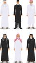 Set of different standing arab old men in the traditional muslim arabic clothing on white background in flat