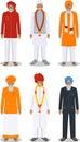 Sada skladajúca sa z odlišný stojace indický starý muži v tradičný oblečenie izolované na bielom pozadí v byt štýl