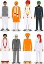 Sada skladajúca sa z odlišný stojace indický starý a mladý muži v tradičný oblečenie na bielom v byt štýl