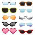 Set of different sun glasses Royalty Free Stock Photo
