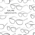 Set of the different sun glasses pattern Royalty Free Stock Photo