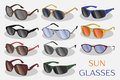 Set of the different sun glasses Royalty Free Stock Photo