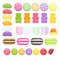 Set of different sweets glossy candies on white background Stock Image