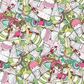 Set of different sweets. Seamless doodle pattern with ice cream, desserts, cakes and candies. Hand drawn vector illustration. Col
