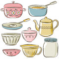 Set of different tableware vector Stock Photography