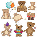 Set of different teddy bears items Stock Photography