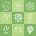 Set of different trees silhouette with roots and branches for logo label vector Stock Photos