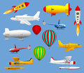 Set of different types of air transport. Airplanes, helicopters, balloons and zeppelins.