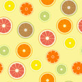 Set of different types of citrus fruits. Seamless pattern