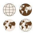 Set of different types of globes.