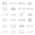 Set of different types of pasta contour vector icons on white background Royalty Free Stock Images