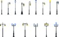 Set of different types of street lamps isolated on white background in flat style. Vector illustration. Royalty Free Stock Photo