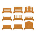 Set of different types of wooden benche icon