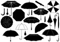 Set of different umbrellas isolated on white Royalty Free Stock Image