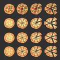 Set with different varieties of pizza. Cut slices. Margherita, bacon, onion, tomatoes. Top view. Vector illustration Royalty Free Stock Photo
