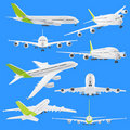 Set of different views of airplane Stock Image