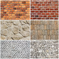 Set of different wall brick and stone texture or background Royalty Free Stock Photo