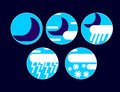 Set With Different Weather Icons: mcloud, moon, rain, snow drops Royalty Free Stock Photo