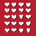 Set of different white heart shapes icons on modern red dotted background