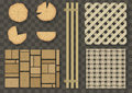 Set of different wooden elements
