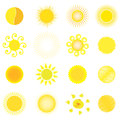 Set different yellow red sun vector Stock Photos
