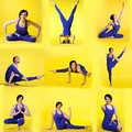 Set of different yoga poses by happy young woman brunette Royalty Free Stock Photos