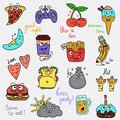 Set of digfferent funny chat smiles color icons