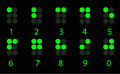 Set of digital green braille number Stock Photos