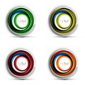 Set of digital techno spheres - web banners, buttons or icons with text. Glossy swirl color abstract circle design, hi Royalty Free Stock Photo