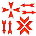 Set of directional arrows red on white backdrop Stock Image
