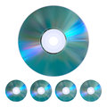 Set of disks the collection five realistic cd dvd Stock Photography