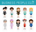 Set of diverse businesswomen people isolated on white background. Set of full body diverse business people.