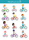 Set of diverse family riding bikes isolated on white background. Different nationalities and dress styles. Happy family riding bi