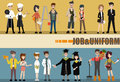 Set of diverse occupation professions, professional people. Flat design people characters