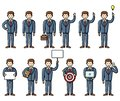 Set of diverse poses business man flat style infographic elements. Vector characters