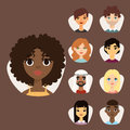 Set of diverse round avatars with facial features different nationalities clothes and hairstyles people characters