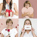 Set of Diversity People with Heart Love Studio Collage Royalty Free Stock Photo