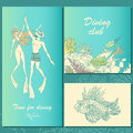 Set of diving illustrations. Couple of divers, coral reef, fish.